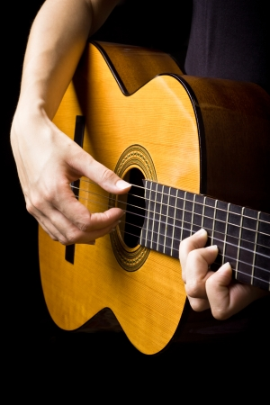 guitar pick: Closeup view of playing classic spanish guitar Stock Photo
