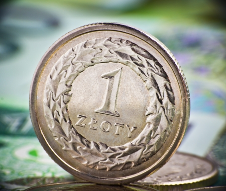 extremely: Extremely close up view of Poland currency Stock Photo