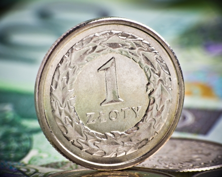 Extremely close up view of Poland currency Stock Photo