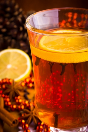 grog: Mulled wine with cinnamon sticks and christmas anise stars