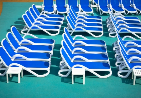 Close up view of blue deck chairs Stock Photo - 16880162
