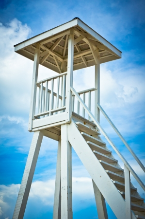 Wooden lifeguard tower on Saint Lucia beach, Caribbean Islands photo