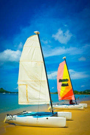 Sailboat at the ocean coast, Saint Lucia, Caribbean Islands Stock Photo - 16928252