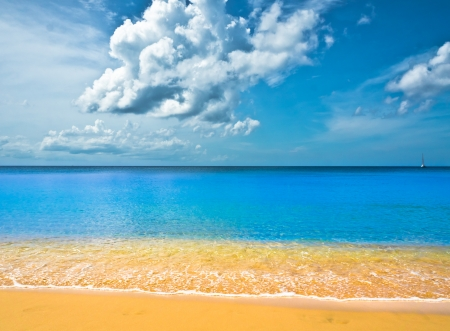 Beautiful beach in Saint Lucia, Caribbean Islands Stock Photo - 16928262