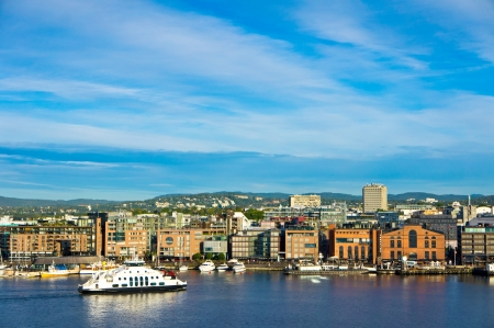 A view of the city of Oslo as seen from the Oslofjord Stock Photo
