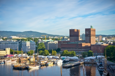A view of the townhall of Oslo Stock Photo
