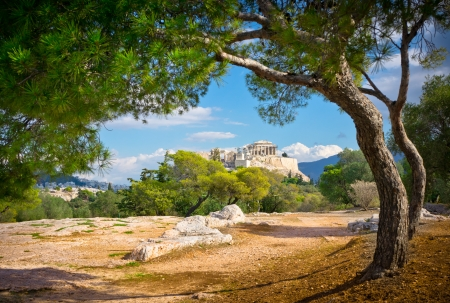 antigua grecia: Hermosa vista de la antigua Acrópolis, Atenas, Grecia