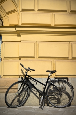 Classic vintage retro city bicycle in Stockholm, Sweden photo