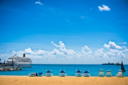 Beautiful beach in Philipsburg, Saint Maarten, Carribean Islands Stock Photo