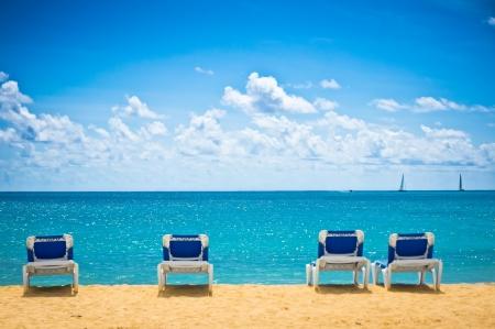 Beautiful beach in Philipsburg, Saint Maarten, Carribean Islands photo