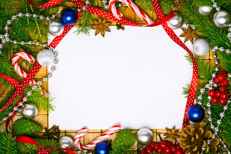 Beautiful blank card for christmas greetings with decoration photo