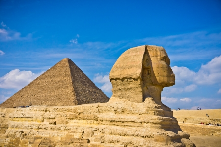 Pyramid of Khafre and Great Sphinx in Giza, Egypt photo
