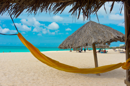 aruba: Beautiful beach in Aruba, Caribbean Islands, Lesser Antilles Stock Photo