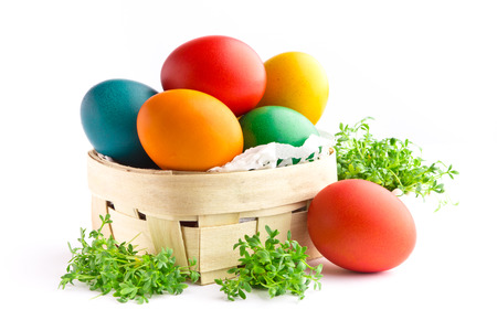 Beautiful decorative easter eggs isolated on white