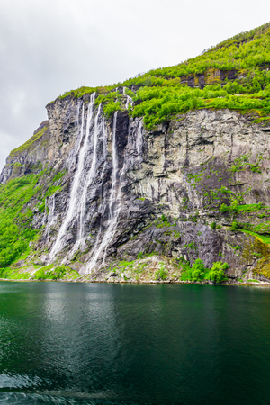Waterfalls Seven Sisters in Geirangerfjord, Norway Stock Photo