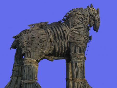 troy: Trojan Horse in Canakkale Square,Turkey. Stock Photo