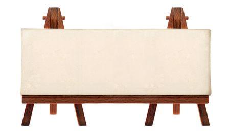 a customizable blank canvas on a wooden big tripod