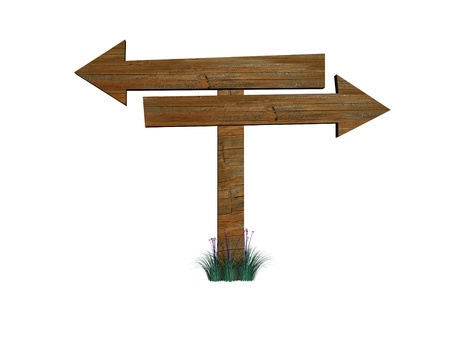 Two 3d retro wooden arrow - index on a column photo