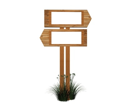 channelize: Two 3d retro wooden arrow - index on a column Stock Photo