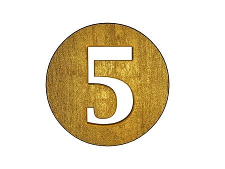 3d golden five number photo