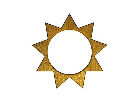 3d golden sun symbol photo