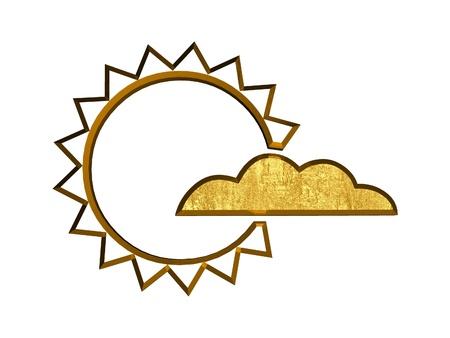 3d golden sun and cloud symbol photo