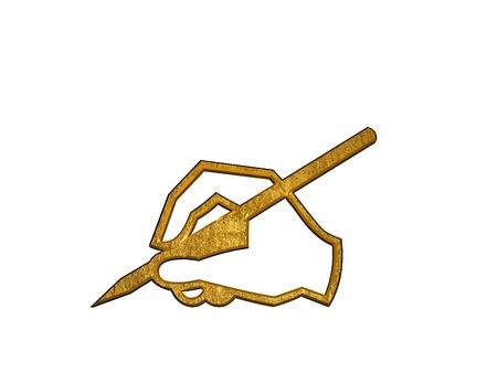 editor: Golden pen symbol Stock Photo