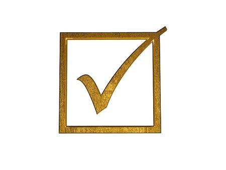 3d golden checkbox. photo