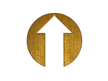 flecha direccion: s�mbolo de flecha dorada 3D Foto de archivo