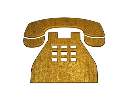 3D Golden Telephone Sign photo