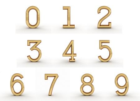 top seven: 3d golden numbers Stock Photo