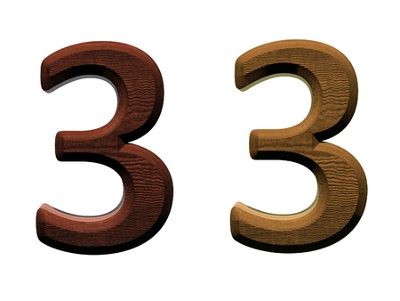 3d wooden numbers. Computer generated 3D photo rendering.  photo