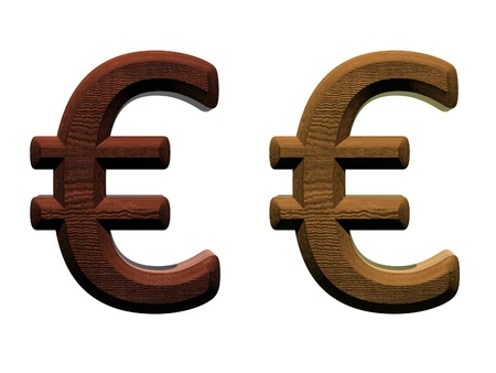 3d wooden euro mark Computer generated 3D photo rendering.  photo