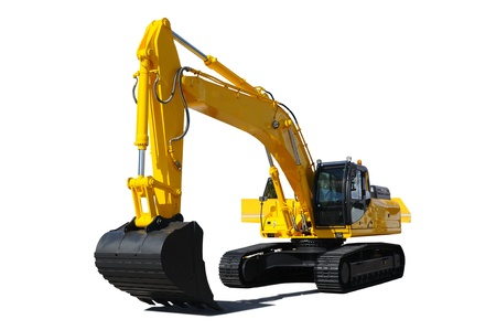 Background. Yellow bulldozer  Stock Photo - 9276828
