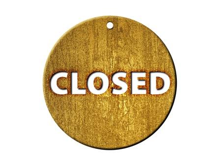 shopsign: 3d golden closed mark