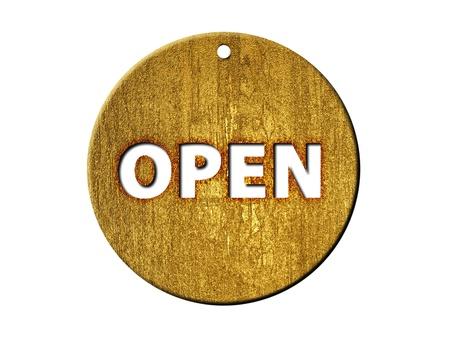 shopsign: 3d golden open sign