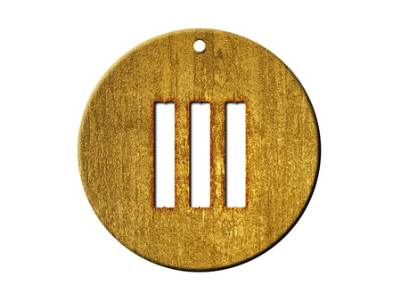 three objects: 3d golden roman numeral