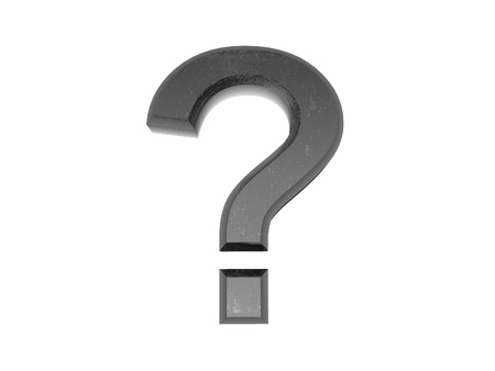 question icon: 3d Metal Question Mark , on a white isolated background.  Stock Photo