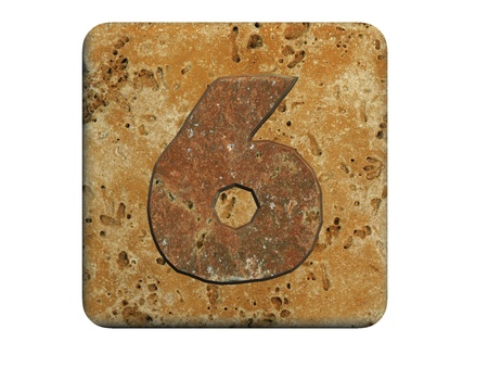 coating: 3d stone six number , on a white isolated background.