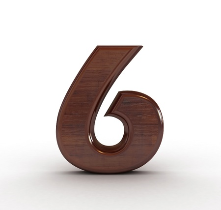 res: High res. 3D wooden numbers isolated