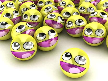 3D Round Smiley Faces. photo
