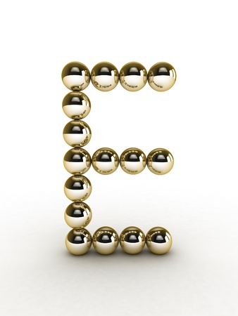 royalty free images: 3d alphabet of gold beads.