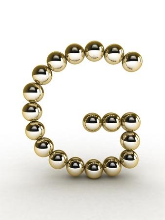 bead: 3d alphabet of gold beads.