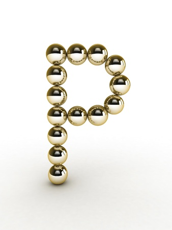 3d alphabet of gold beads. Stock Photo - 11026626