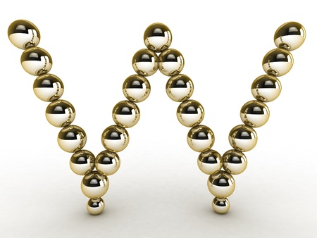 golden font: 3d alphabet of gold beads.