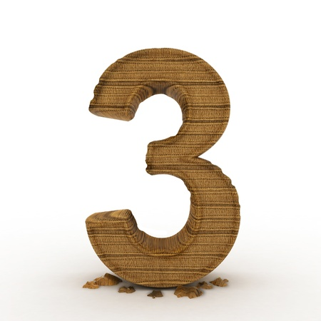 High res. 3D bamboo wooden numbers isolated.  photo