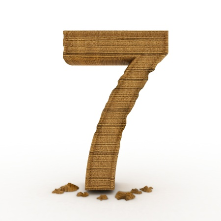 res: High res. 3D bamboo wooden numbers isolated.