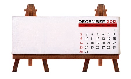 2012 desk calendar (picture and to add notes. Isolated white background.) photo