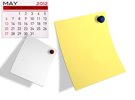 2012 calendar  (Write a note of the calendar) isolated white background. photo