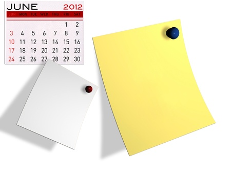 2012 calendar  (Write a note of the calendar) isolated white background. Stock Photo - 11722899